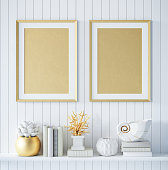 Mock up golden poster frame in interior background with decor