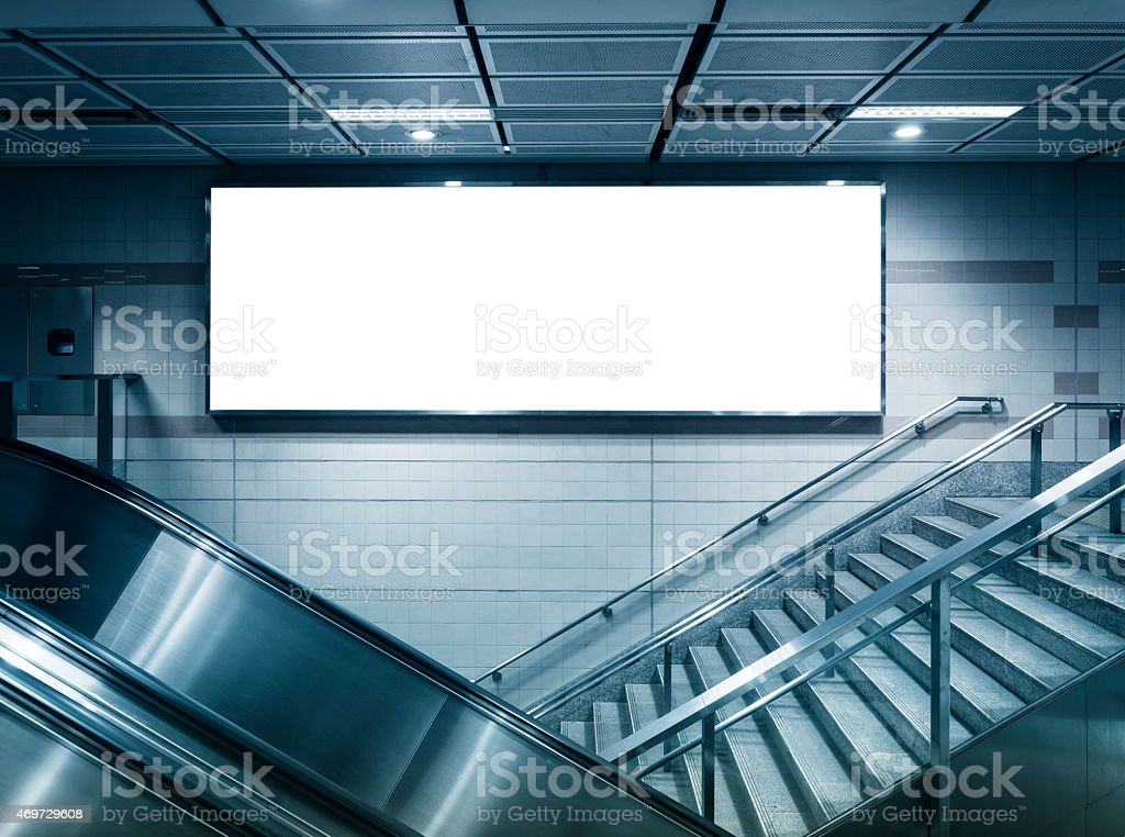Mock up Horizontal poster commercial sign in subway station stock photo