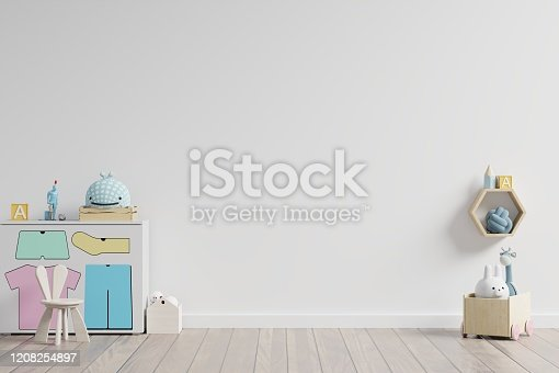 1208254898 istock photo Mock up in children's playroom with cabinet and table sitting doll on empty white wall background. 1208254897