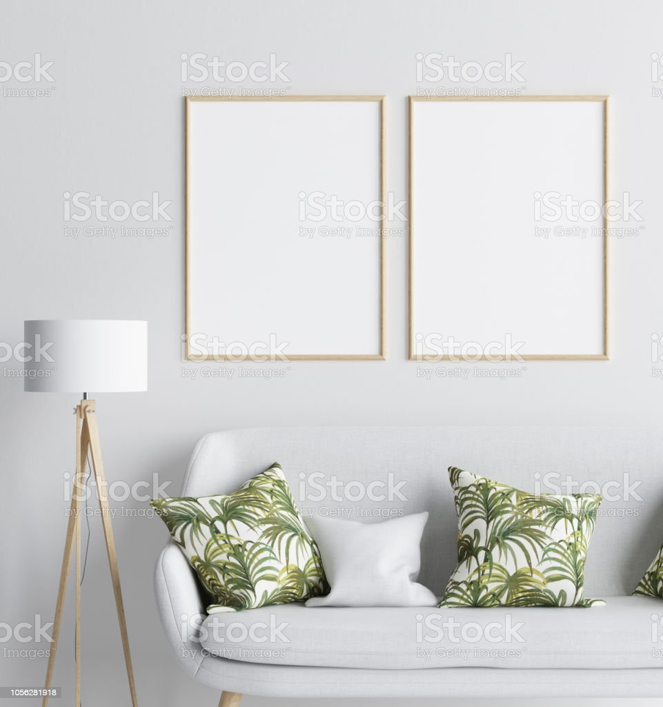Mock Up In Living Room Background Scandinavian Style Stock Photo   Download  Image Now