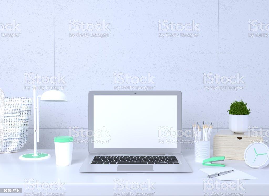 Mock up interieur computer laptop decoratie kantoor bureau en