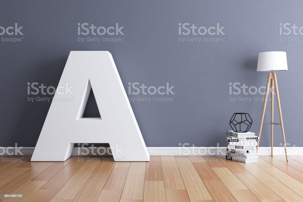 İç yazı tipi 3d render harf A kadar alay stok fotoğrafı
