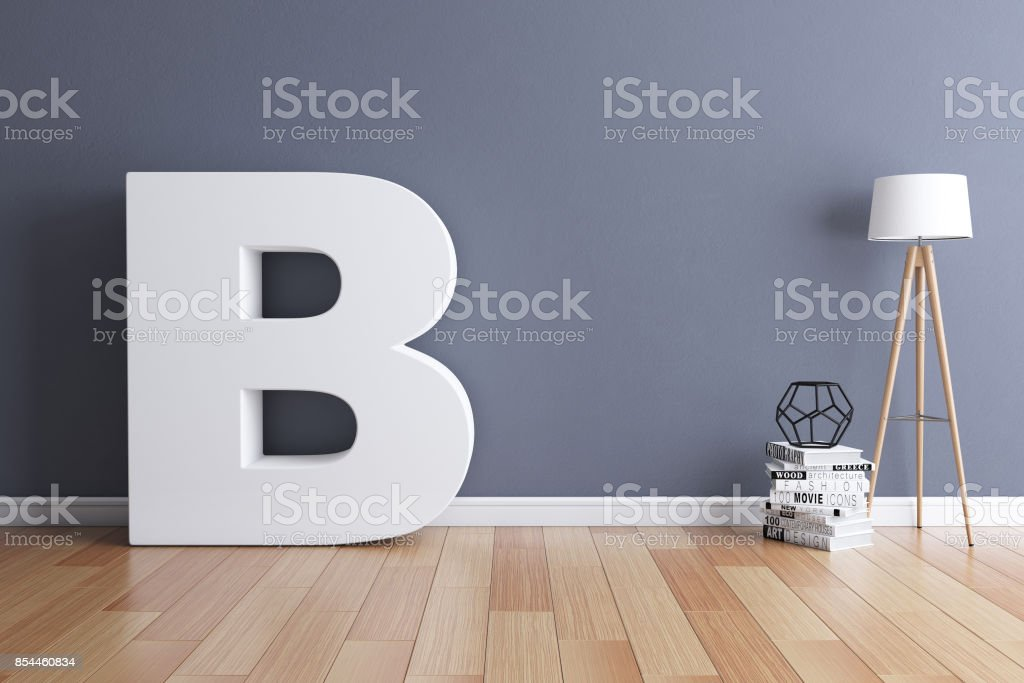 Mock up interior font 3d rendering letter B stock photo