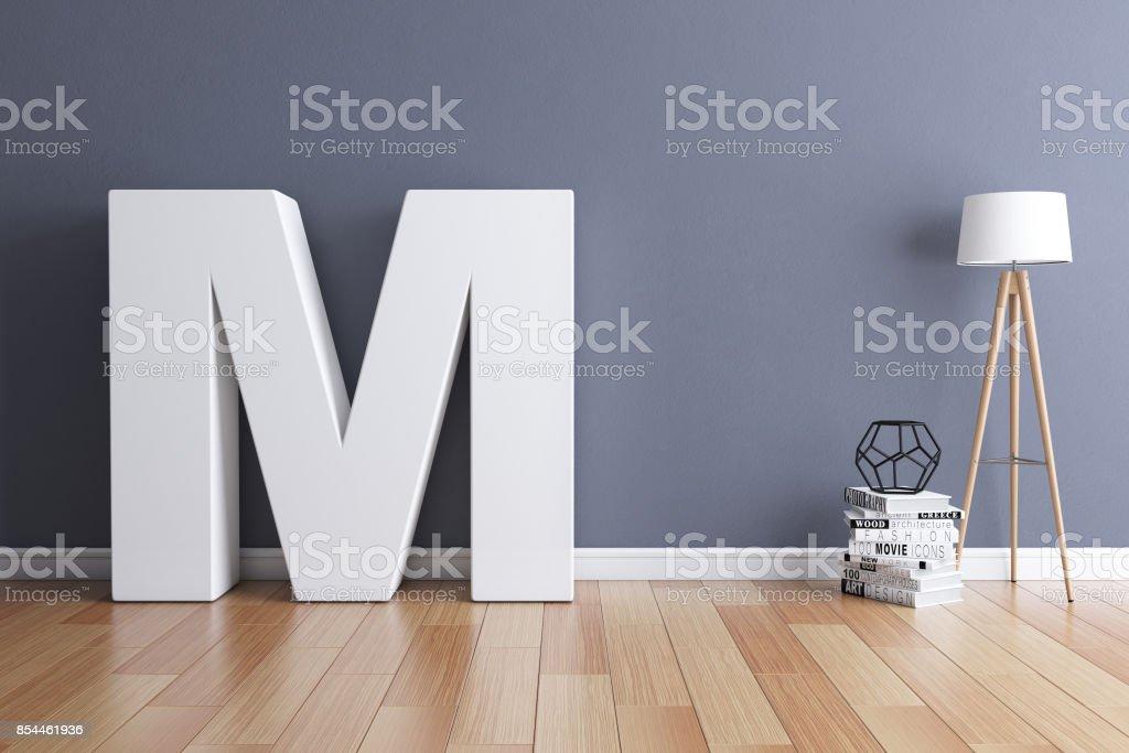 Mock-up Innenraum Schriftart 3d Rendering Buchstabe M – Foto