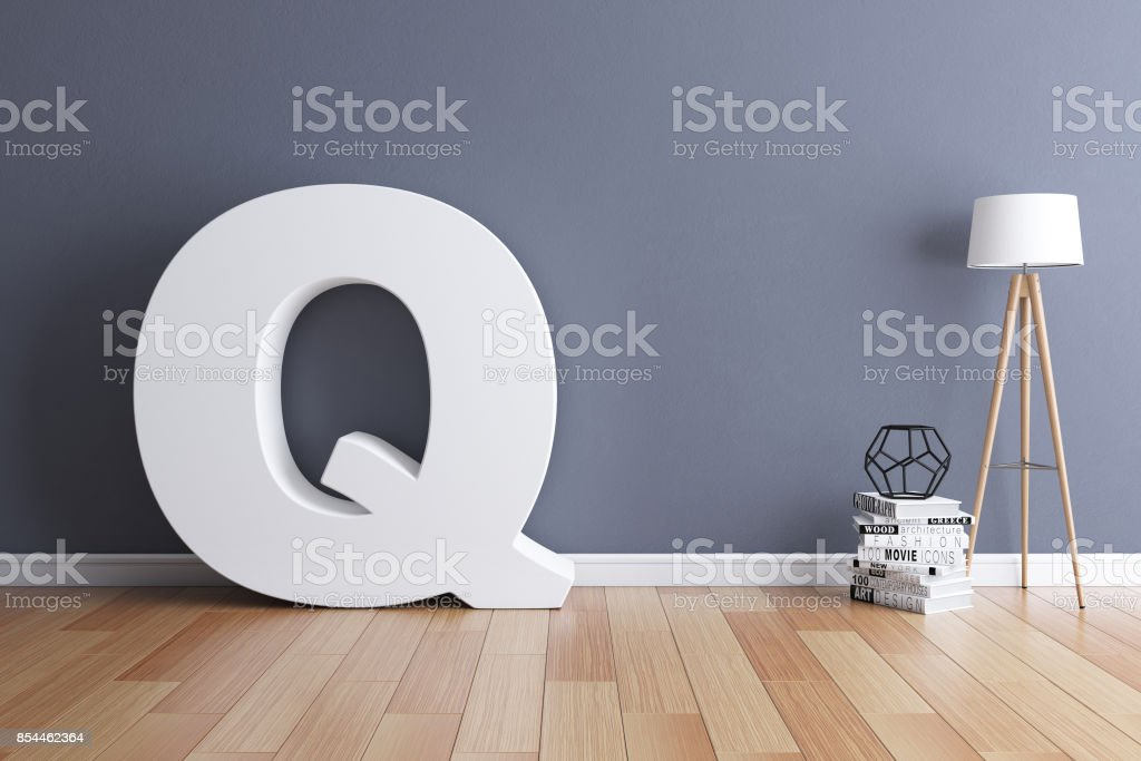Mock up interior font 3d rendering letter Q stock photo