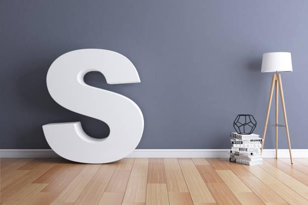 mock up interieur lettertype 3d rendering letter s - s stockfoto's en -beelden