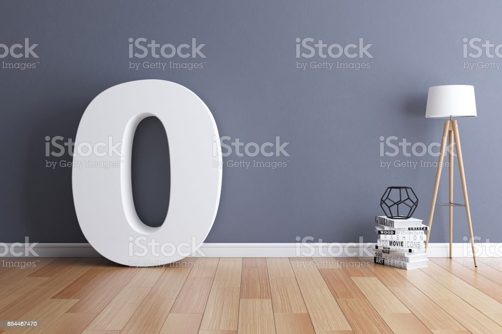 Mock up interior font 3d rendering number 0 stock photo