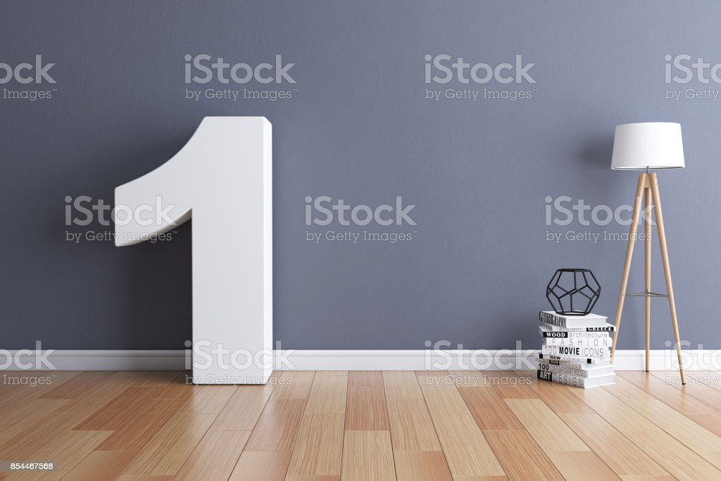Mock up interior font 3d rendering number 1 stock photo