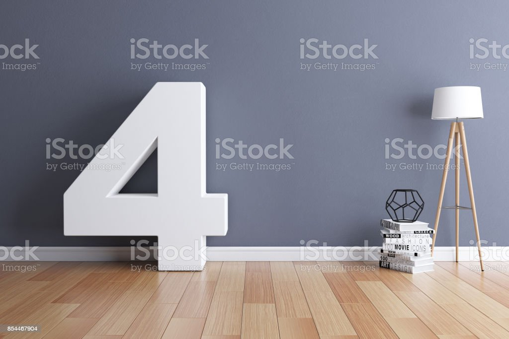 Mock up interior font 3d rendering number 4 stock photo