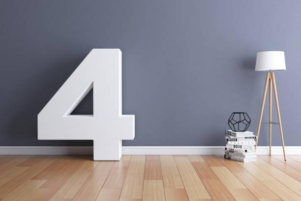 Mock up interior font 3d rendering number 4 Mock up interior font 3d rendering number 4 number 4 stock pictures, royalty-free photos & images