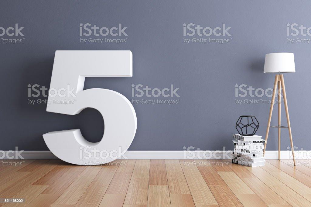 Mock up interior font 3d rendering number 5 stock photo