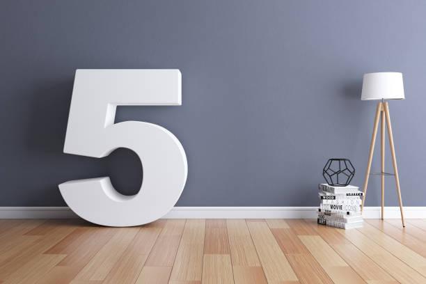 mock up interior font 3d rendering number 5 - numero 5 foto e immagini stock