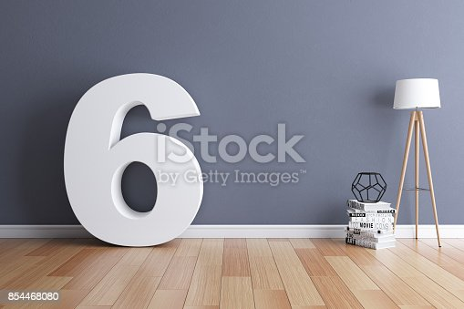 istock Mock up interior font 3d rendering number 6 854468080