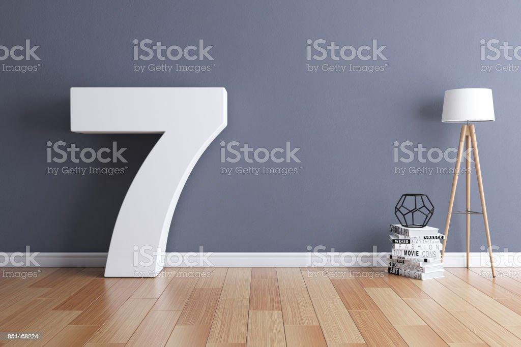 Mock up interior font 3d rendering number 7 stock photo