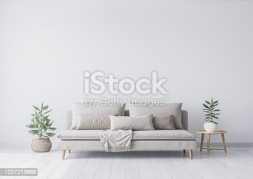 Mock up interior for minimal living room design, beige sofa and green plant in rattan basket. Empty white wall. Stock photo