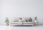 istock Mock up interior for minimal living room design, beige sofa and green plant on white background. Stock photo 1227213888
