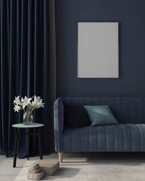 Mock up Interior of the living room in monochrome blue with poster. 3d render stock photo