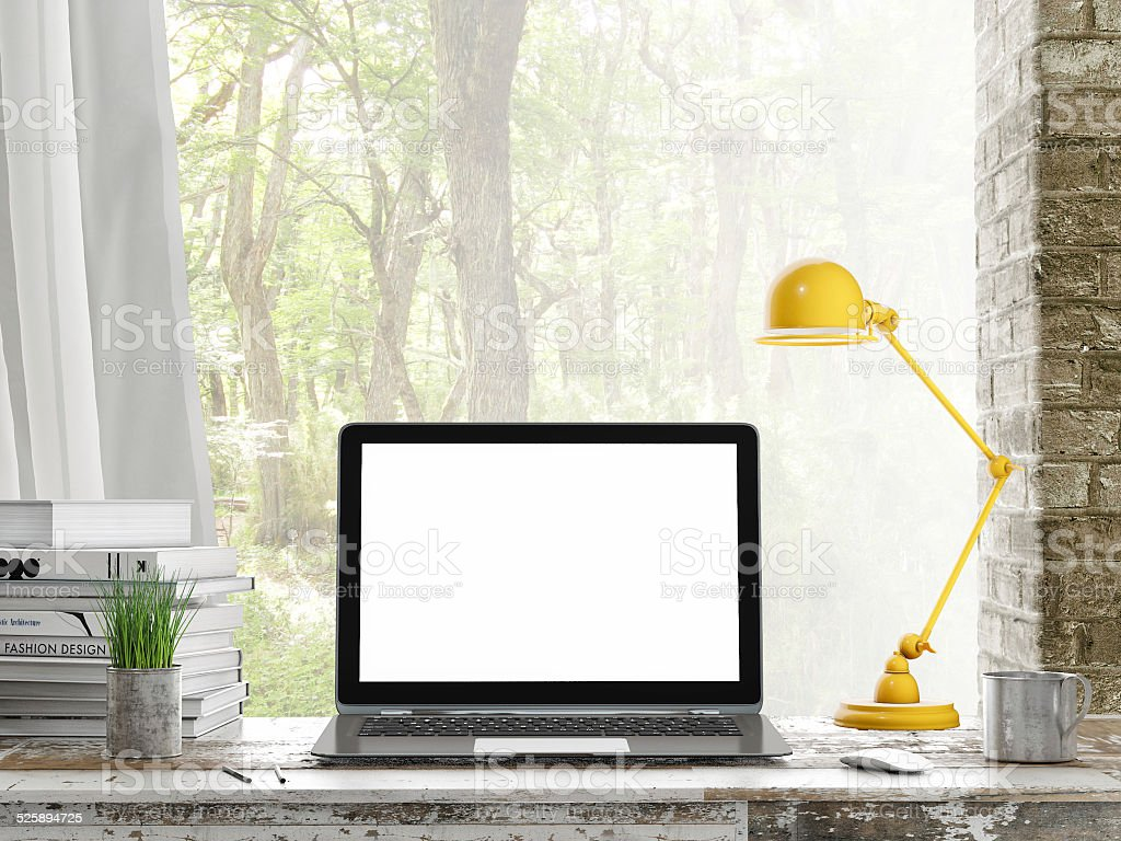 Mock up Laptop, Outdoor view, background stock photo