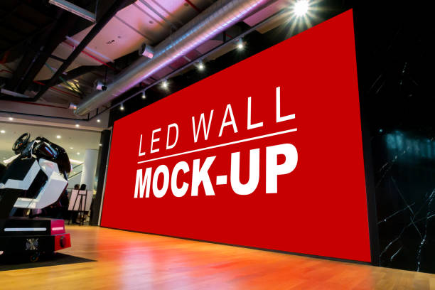mock up large led wall on stage in showroom - led painel imagens e fotografias de stock