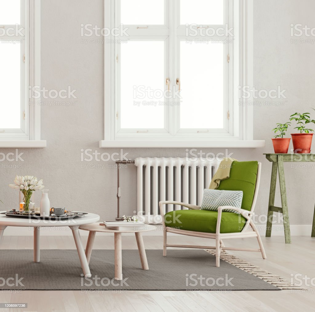 Mock Up Living Room With Two Tables And Green Chair In Modern ...