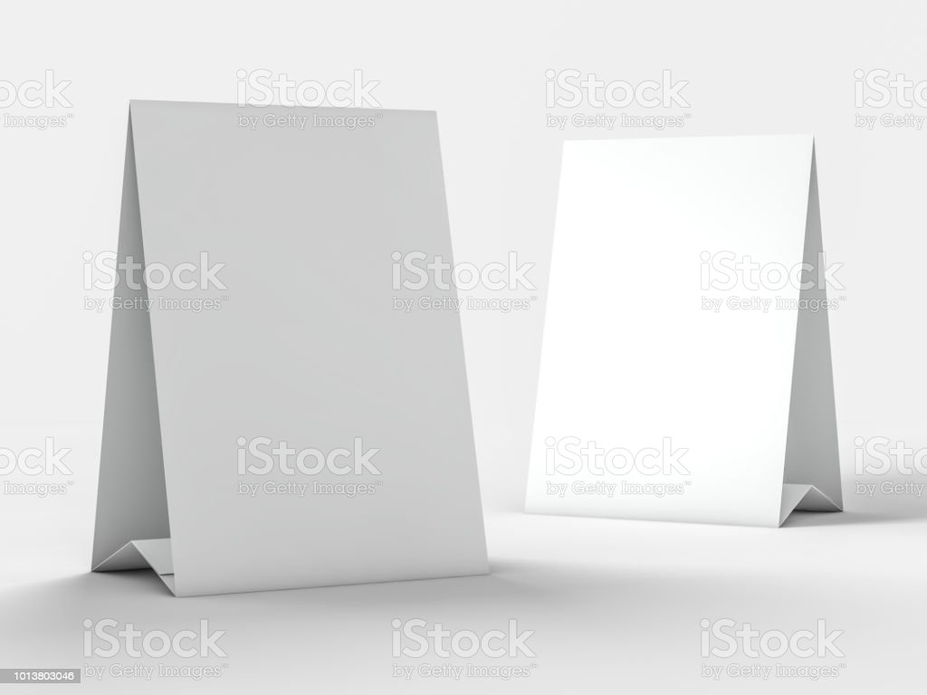 Mock up menu frame on table. 3D stock photo