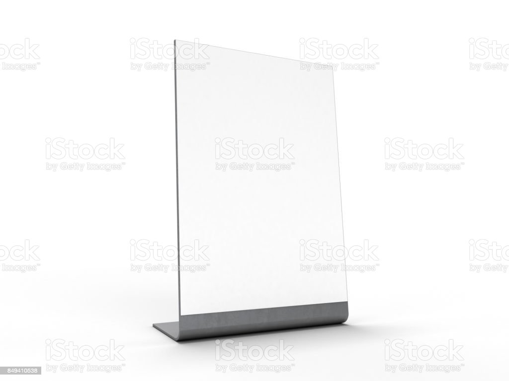 Mock up menu frame on table. 3D rendering stock photo