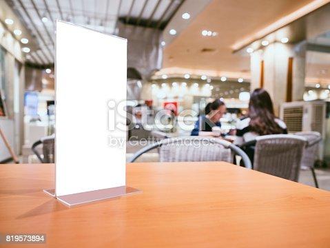 istock Mock up Menu frame on Table Bar restaurant cafe indoor 819573894