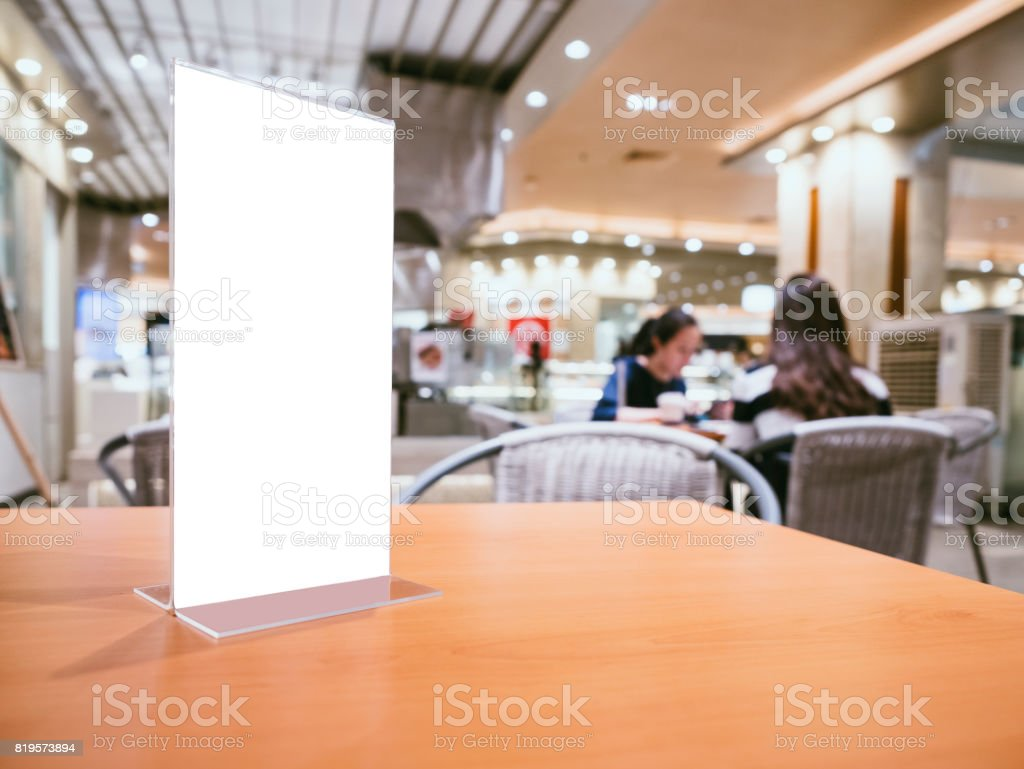 Mock up Menu frame on Table Bar restaurant cafe indoor stock photo