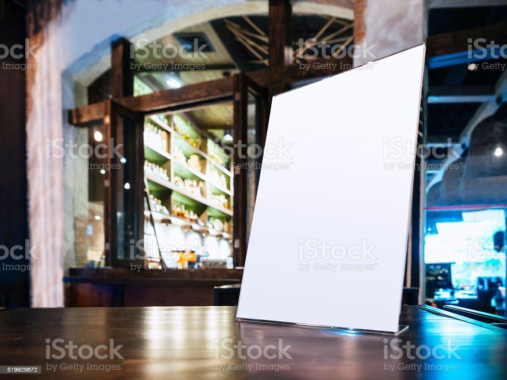 Mock up Menu frame on Table in Bar Restaurant cafe stock photo
