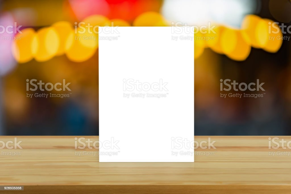 Mock Up Menu Frame On Table In Bar Restaurant Cafestand For Booklets - Restaurant table tents and menu sign displays