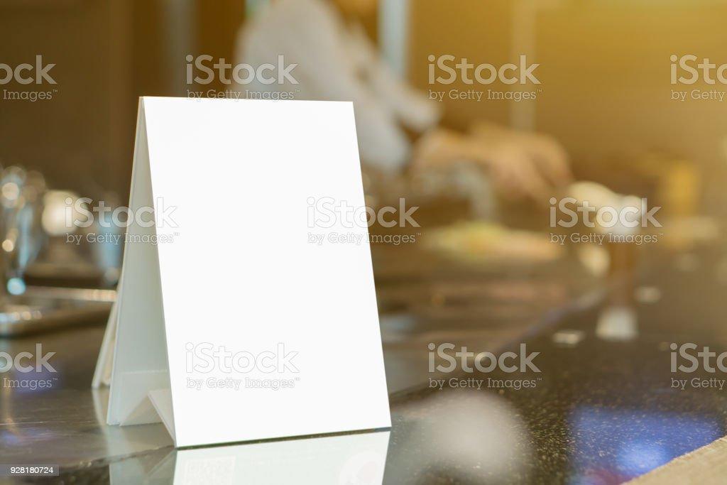 Mock Up Menu Frame On Table In Bar Restaurant Stand For Booklets ...
