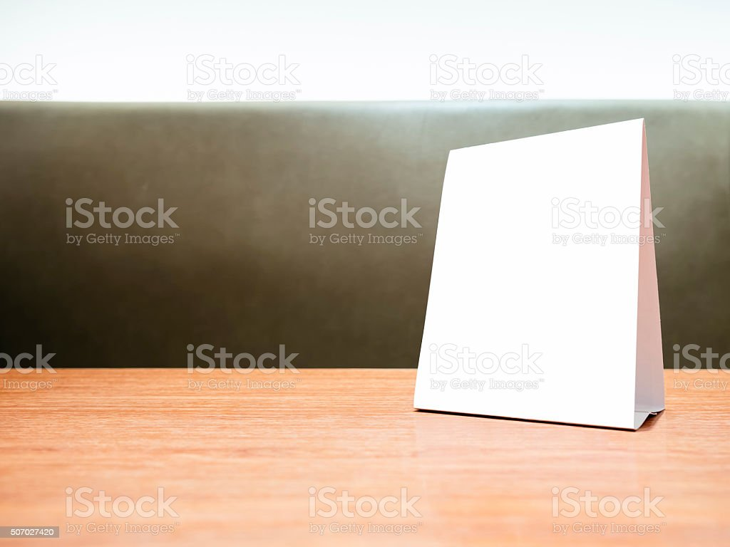 Mock up Menu frame on Table in Restaurant Shop stock photo