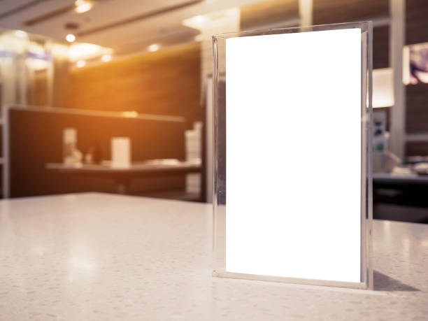 mock up menu frame on table in the cafe restaurant - vinyl banner mockup stock photos and pictures