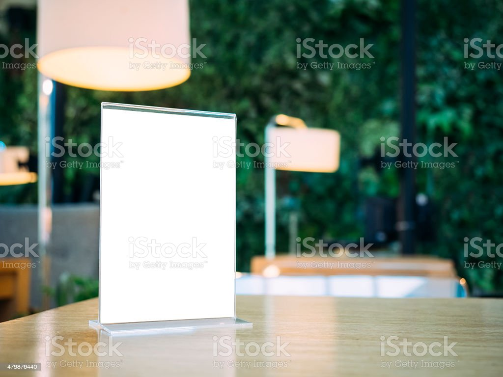 Mock up Menu frame on Table with Bar Restaurant cafe stock photo