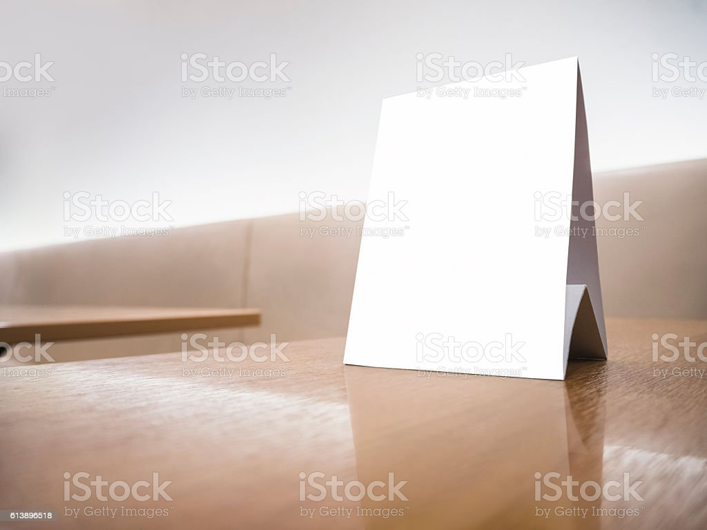Mock up Menu frame Sign on Table Counter Sofa background stock photo
