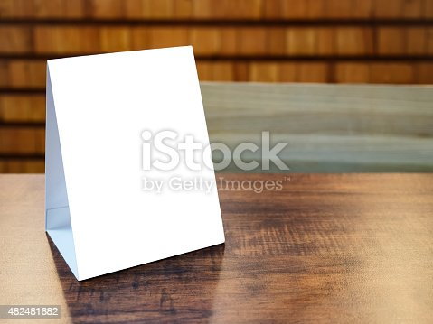 istock Mock up Menu Frame template on table in Restaurant cafe 482481682