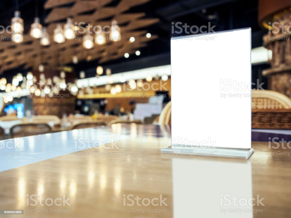 Mock up Menu on Table Bar Restaurant Cafe Event Party stock photo