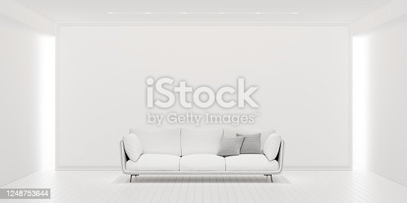 1095381860 istock photo Mock up, Modern Empty White Living room, interior design with copy space 3D Render 1248753644