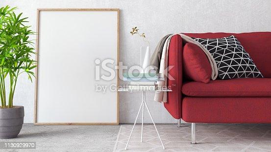 istock Mock up, Modern Living room, interior design 3D Render 1130929970