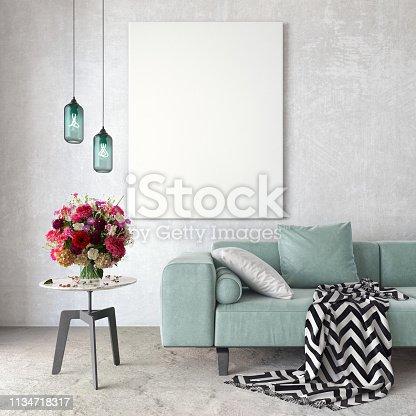istock Mock up, Modern Living room, interior design 3D Render 1134718317