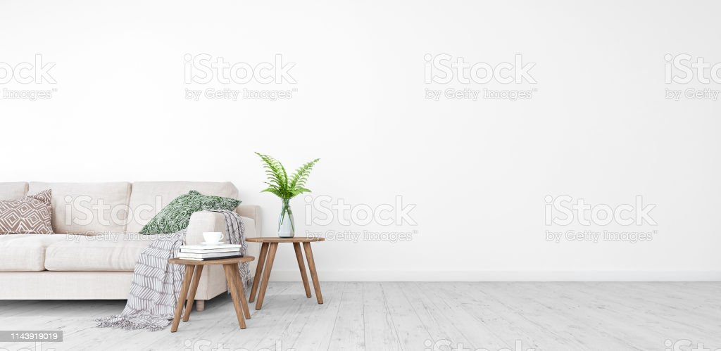 Mock up, Modern Living room, interior design with free space on right 3D Render - Foto stock royalty-free di Ambientazione interna