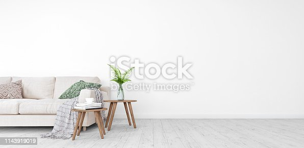 Mock up, Modern Living room, interior design with free space on right 3D Render 3D illustration