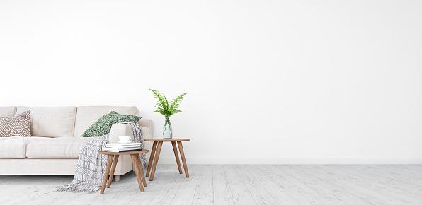 Mock Up Modern Living Room Interior Design With Free Space On Right 3d Render - Fotografie stock e altre immagini di Ambientazione interna