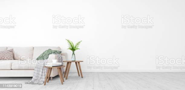 Photo of Mock up, Modern Living room, interior design with free space on right 3D Render