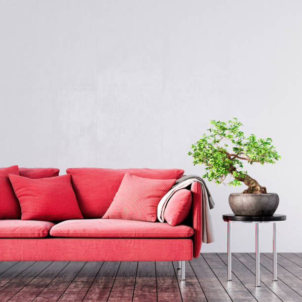 Mock Up Modern Living Room Interior Design With Red Sofa 3d Render Stock Photo Download Image Now Istock