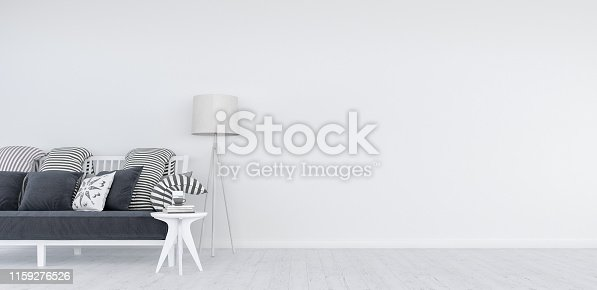 1095381860istockphoto Mock up, Modern White Living room, interior design 3D Render 1159276526
