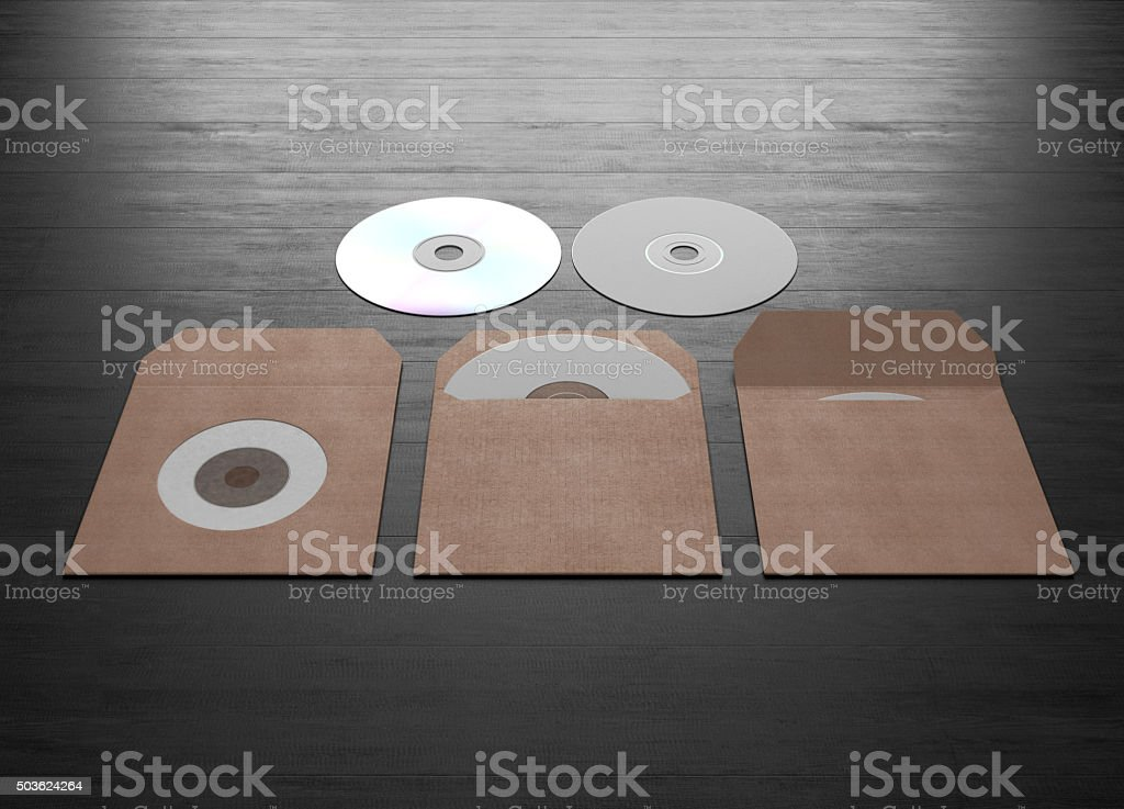 Mock up of cardboard packaging for a compact disk. stock photo