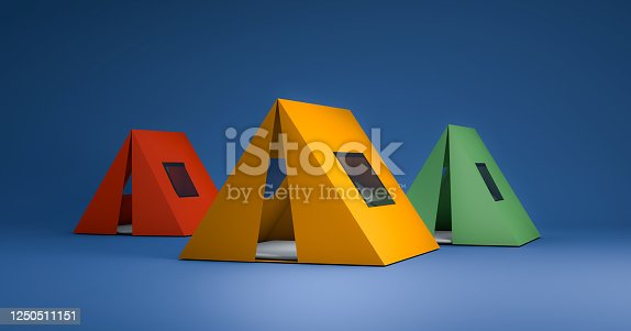 istock Mock up of colorful camping tent 1250511151