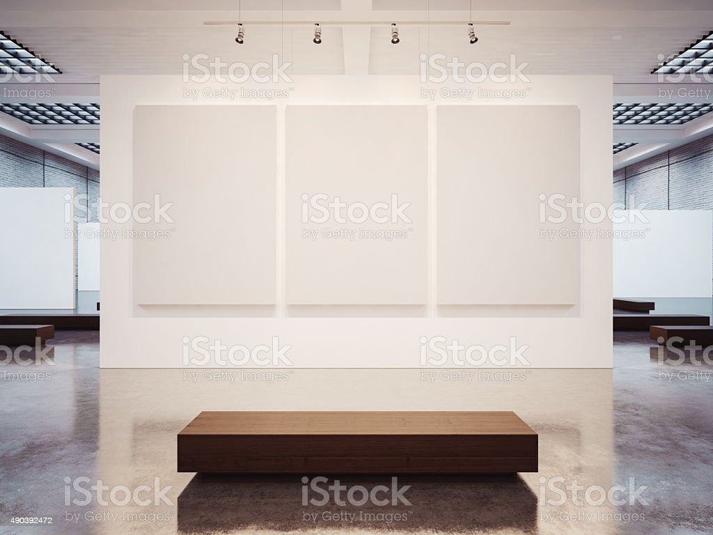 Mock up of empty gallery interior with brown bench. 3d stock photo