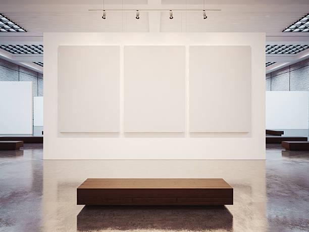 mock-up des leere galerie interieur mit braunen tisch. 3 d - gemäldegalerie stock-fotos und bilder